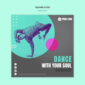 Design de folheto quadrado de dança de rua