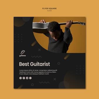 Design de folheto quadrado de jogador de guitarra