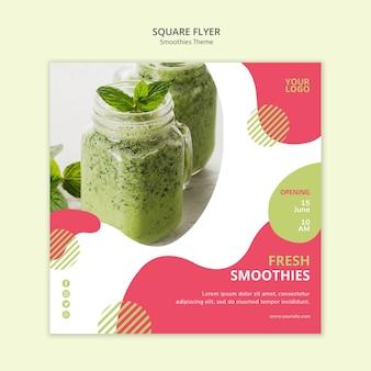 Design de folheto quadrado de tema smoothies