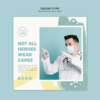 Design de folheto quadrado profissional médico