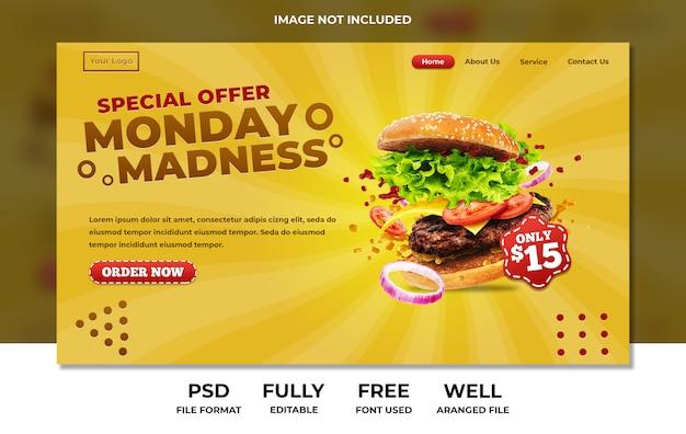 Design de hambúrguer de restaurante de fast-food para site ou página de destino