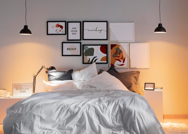 Design de interiores com arranjo de molduras mock-up