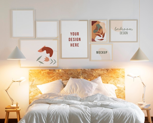 Design de interiores com composição de molduras mock-up Psd grátis
