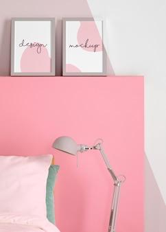 Design de interiores com moldura de mock-up