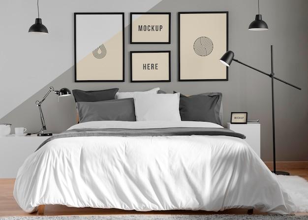 Design de interiores com molduras de mock-up mínimas