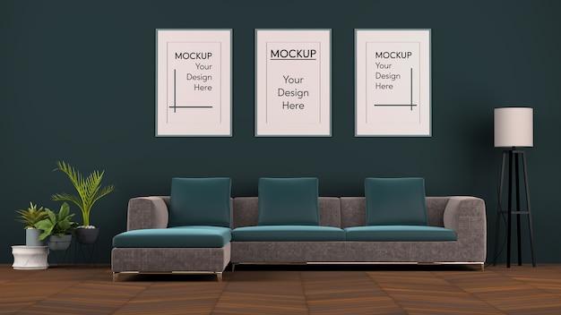 Design de interiores com sofá moderno