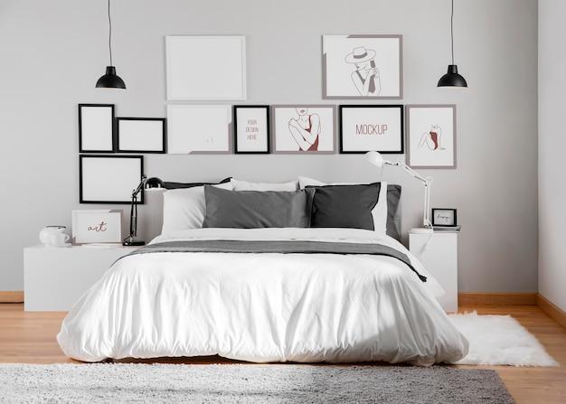 Design de interiores com variedade de molduras de mock-up