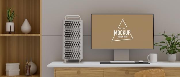 Design de interiores de espaço de trabalho aconchegante com dispositivo de computador e decorações, renderização 3d, ilustração 3d