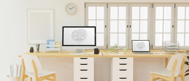 Design de interiores de espaço de trabalho de escritório com tela de maquete de computador