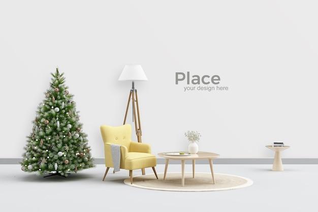 Design de interiores de sala de estar com árvore de natal