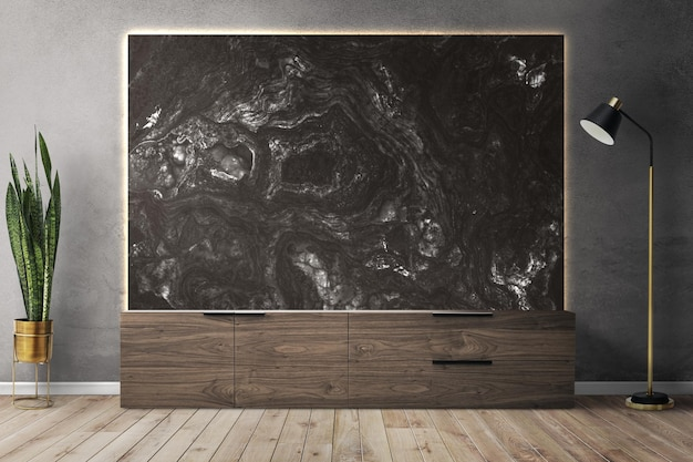 Design de interiores de sala de estar de maquete de parede de loft
