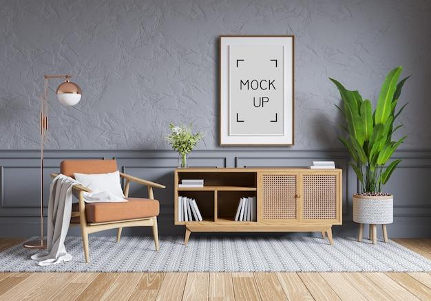 Design de interiores em estilo nórdico, armário e cadeira de madeira na parede cinza com piso de madeira parque