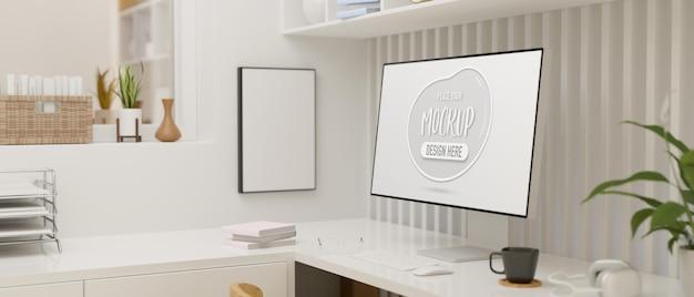 Design de interiores minimalista de sala de escritório com tela de maquete de computador