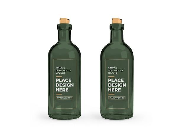 Design de maquete 3d de garrafa de vidro vintage