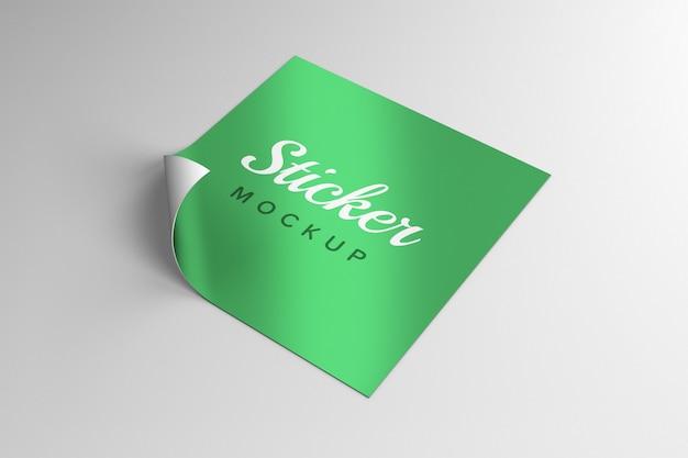 Design de maquete de adesivo quadrado