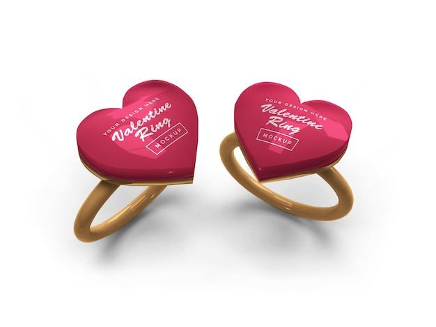 Design de maquete de anel de coração de dia dos namorados