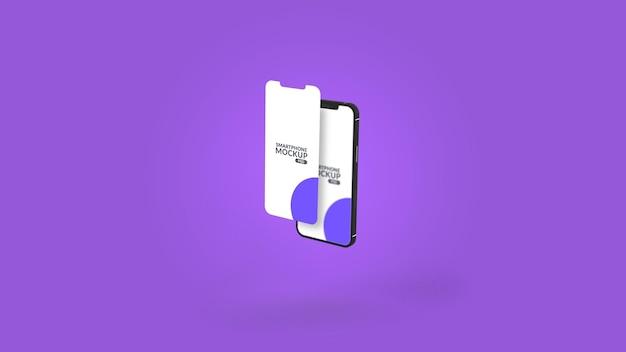 Design de maquete de apresentação da tela principal do aplicativo para smartphone entalhado