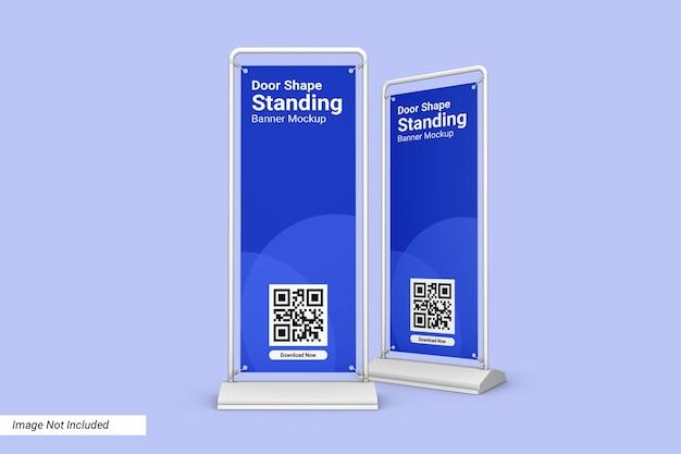Design de maquete de banner em pé em forma de porta isolado