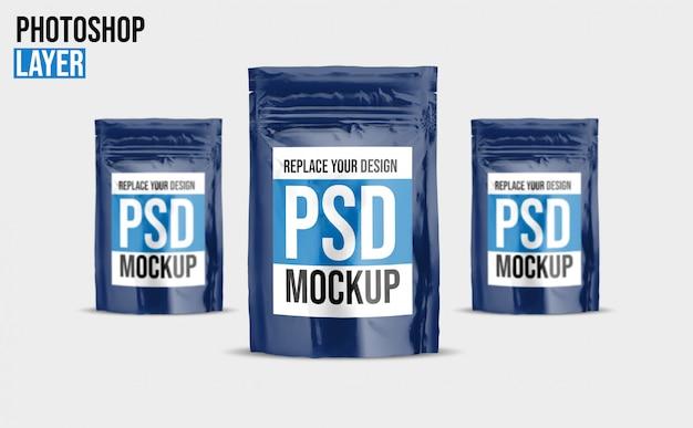 Design de maquete de bolsa de alimentos