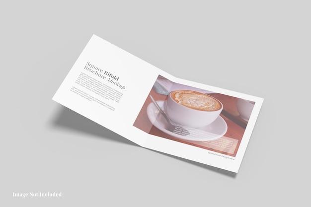 Design de maquete de brochura quadrada com duas dobras