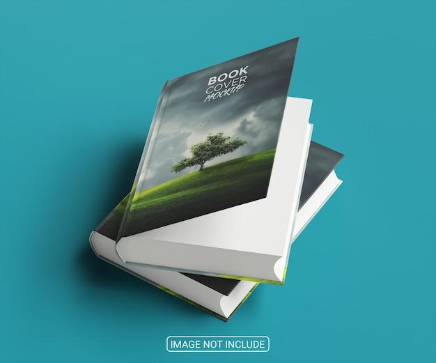Design de maquete de capa de livro com vista de ângulo superior