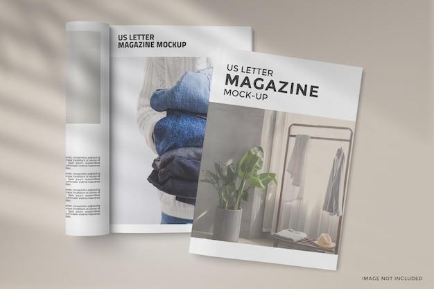 Design de maquete de capa e revista enrolada