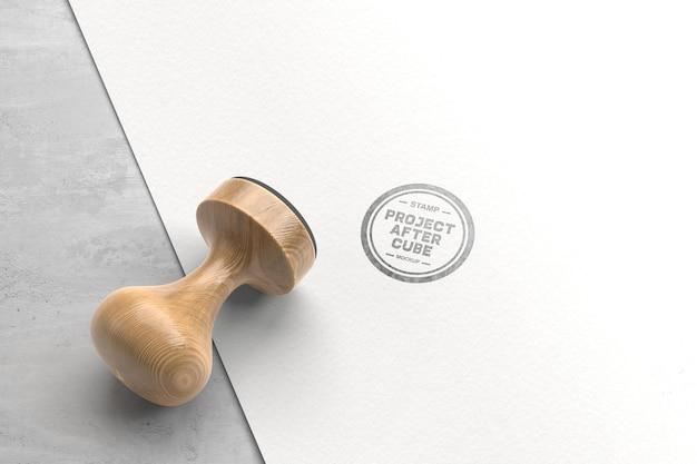 Design de maquete de carimbo de madeira vintage