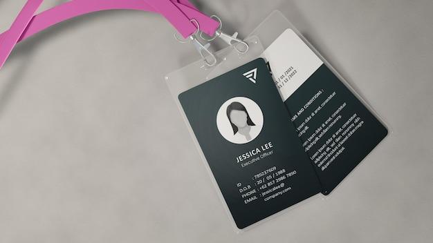 Design de maquete de cartão de identificação de escritório
