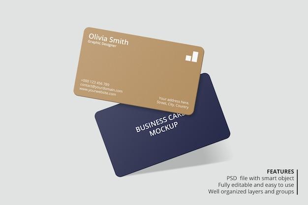 Design de maquete de cartão de visita com canto arredondado