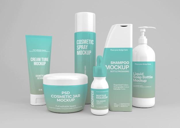 Design de maquete de conjunto cosmético