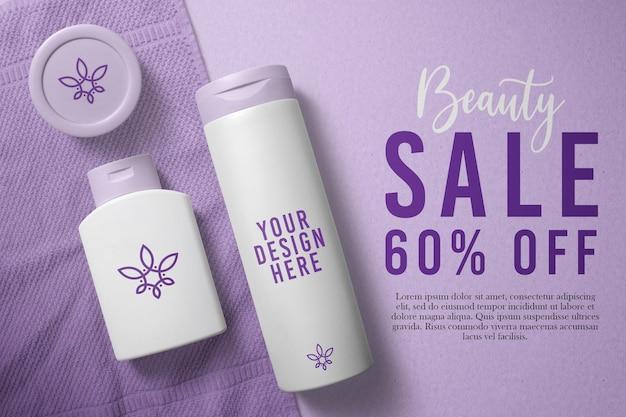 Design de maquete de cosméticos para frascos de loção
