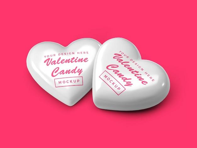 Design de maquete de doces de coração de namorados