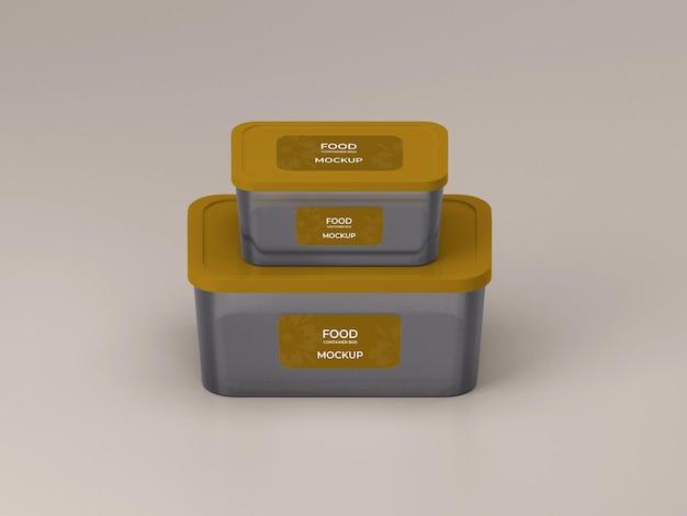 Design de maquete de dois recipientes de comida personalizável de qualidade premium