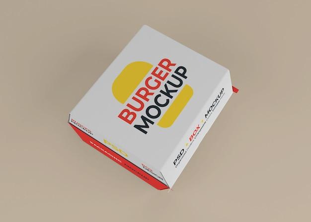 Design de maquete de embalagem de caixa de hambúrguer de vista superior isolado