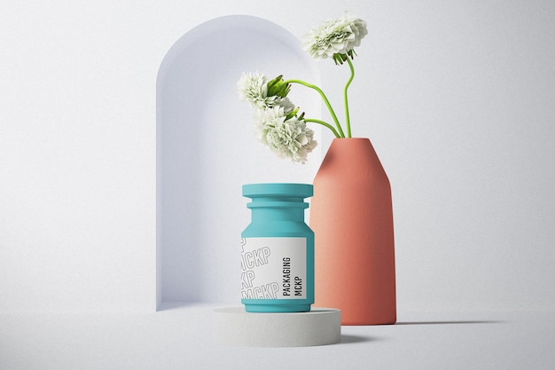 Design de maquete de embalagem de garrafa de vista frontal