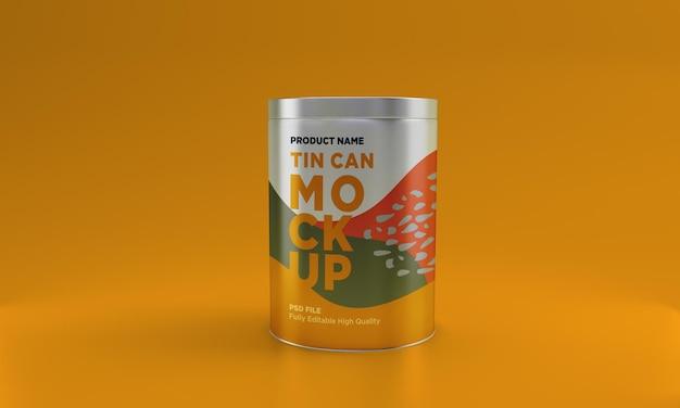 Design de maquete de embalagem de metal para comida
