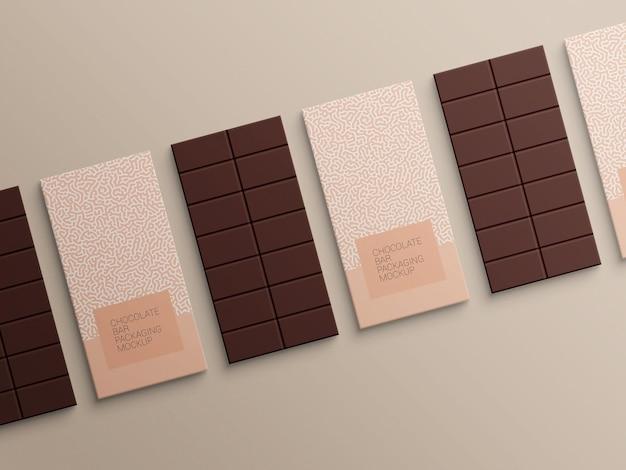Design de maquete de embalagem de papel de embrulho de barra de chocolate
