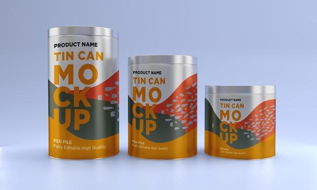 Design de maquete de embalagem de três metais para alimentos
