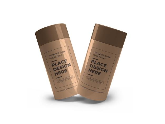 Design de maquete de embalagem de tubo de cilindro