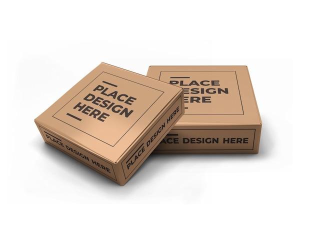 Design de maquete de embalagem pequena caixa quadrada