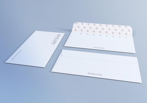 Design de maquete de envelope branco para apresentação