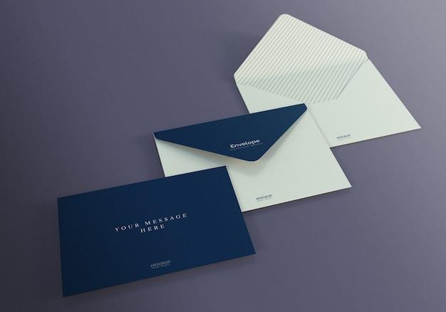Design de maquete de envelope com fundo roxo escuro