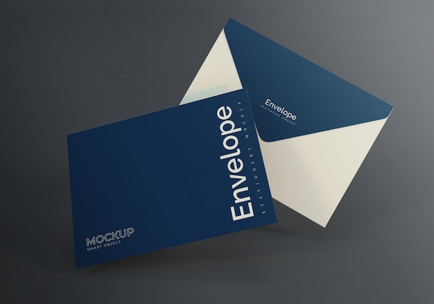 Design de maquete de envelope flutuante com fundo cinza escuro