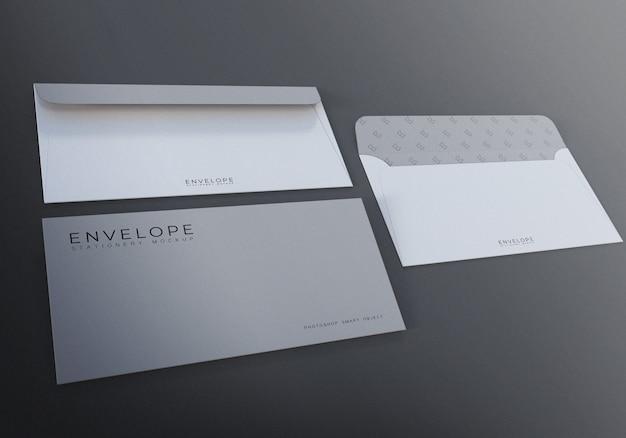 Design de maquete de envelope fotorrealista com fundo cinza
