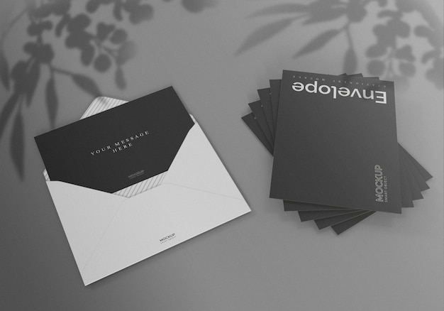 Design de maquete de envelope preto e branco