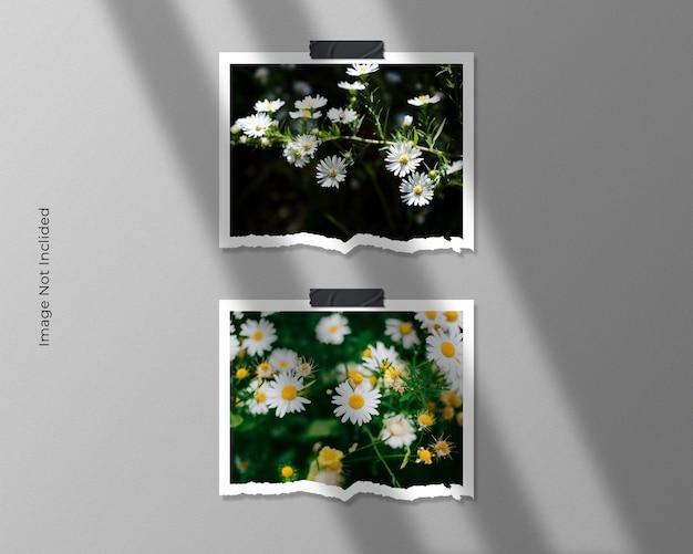 Design de maquete de foto com moldura dupla em papel rasgado