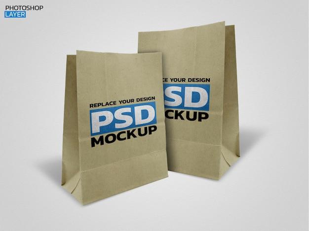 Design de maquete de foto de saco de papel