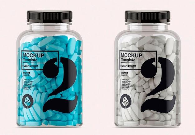 Design de maquete de frasco de pílulas transparente isolado