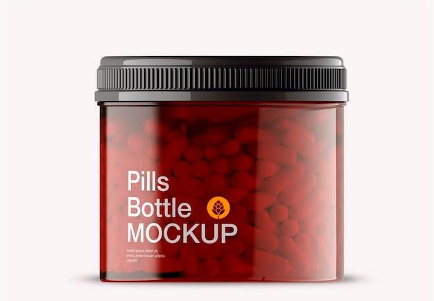 Design de maquete de frasco de pílulas