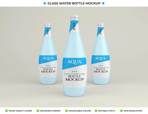 Design de maquete de garrafa de água mineral de vidro